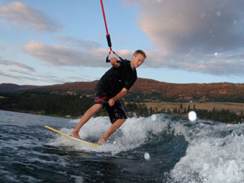 Wakeboarding near Vernon on Kalmalka Lake